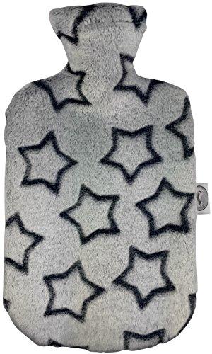Larovita Wärmflasche mit Bezug waschbar flauschig 2 L fashy TÜV geprüft Baby Kinder Bettflasche geruchsfrei (Sterne grau)