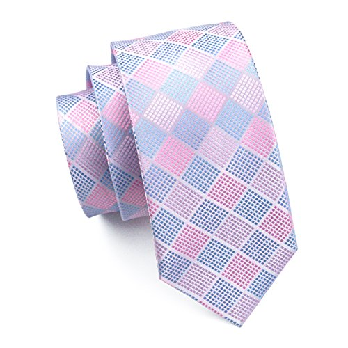 (Pink) - Hi-Tie Mens Navy Blue Plaid Tartan Paisley Solid Silk Tie Pocket Square Cufflinks Neckties Set for Men