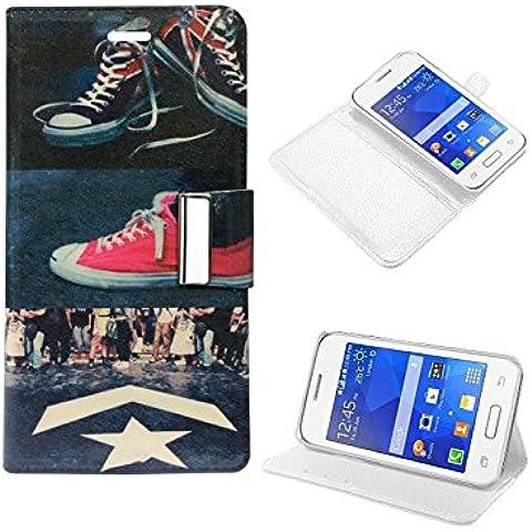 Funda Flip Cover Premium para Samsung G130 Galaxy Young 2 Dibujos Zapatillas