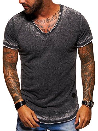 Herren Vintage Schwarz T-shirt (behype. Herren Oversize Kurzarm T-Shirt V-Neck Vintage Shirt 20-1760 Schwarz L)