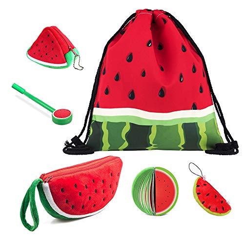 Wassermelone-Kordelzugbeutel,Niedlicher großer Plüsch-Etui,3D-Geldbeutel-Schlüsselhalter,Schlüsselanhänger-Anhänger-Dekorationen,Fruchtnotizblöcke mit Stift für junge Studentinnen (6er Set)