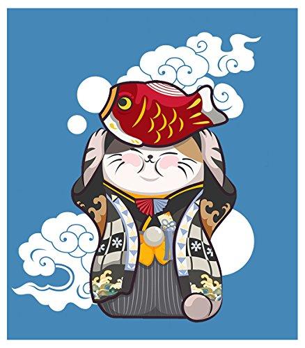 Karikatur Noren Vorhang Japanische Maneki Neko und Koi Fisch Druck Türvorhang Baumwolle Leinen Vorhang Glückliche Katze Raumteiler Schlafzimmer Küche Wandbehang Tapisserie 33,5 * 35,5 in (Noren Koi)