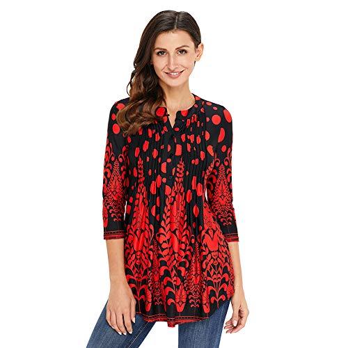 Damen Langarmshirt 3/4 Arm Bluse Vintage Blumenmuster Oberteile Rundhals Tops, Rot,  S