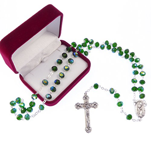 Lungo smeraldo verde iridescente bicchiere rosari le nostre da signora centro Cattolica in scatola