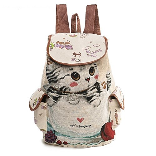 Freizeit-wasserdichter Sport-Rucksack, nette Katzen-Muster-Segeltuch-Rucksack-leichte wandernde Reitkapazitäts-Rucksack-tragen-widerstehende Unisexschultasche ( Design : A )