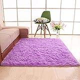 GOYOO Teppiche Weich Nicht Schuppen Dick Einfach Anti-Rutsch Zottelig Wohnzimmer Schlafzimmer Teppich Leicht Zu Reinigen Lila,200X300cm