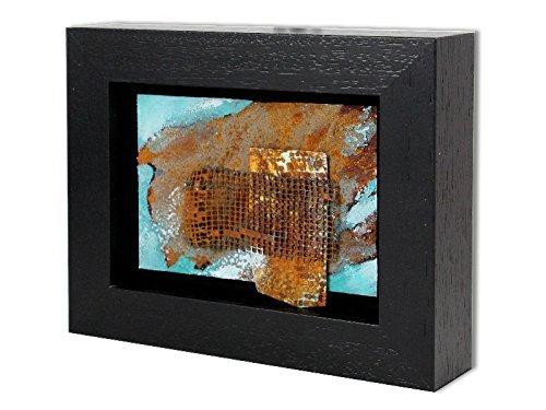 Bild abstrakt mit Rahmen modern Rost-Art Malerei Kunst Original Acryl Gemälde ca.23x18 cm -