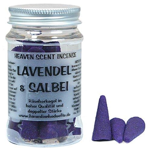 amerikanische Qualitäts Räucherkegel LAVENDEL SALBEI / LAVENDER SAGE von Heaven Scent GB, in einer Plexiglas-Dose Lavendel-salbei