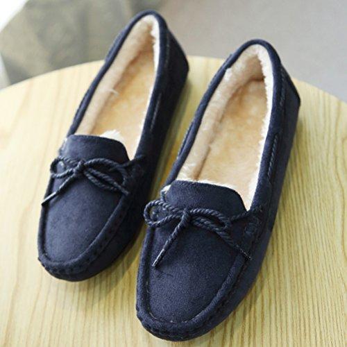MatchLife Femmes Chaussures de neige plates en daim Mocassins Polaire Bleu Foncé