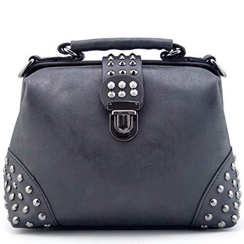 Gothic Rivet Studded Vintage Arzt Stil Cross Body Cabrio Eimer Schulter Handtasche für Frauen -