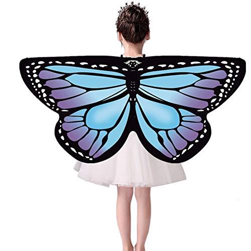 Maritown Kinder Schmetterlingsflügel, Fairy Butterfly Cape Wings bunten Schmetterling Schal Mädchen Prinzessin so tun, als Spielen Tanz Cosplay Zubehör Party Favors Geschenke