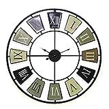 STEAM PANDA Reloj de Pared Grande Retro Negro Vintage Vintage Reloj de Pared Redondo Reloj Decorativo 70x4.5x70 Cm Reloj de Pared Bar de casa Reloj de Pared