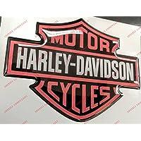 Escudo Logo Decal Harley Davidson, Classic Logo, Orange, adhesivo, resina efecto 3d. Para depósito o casco