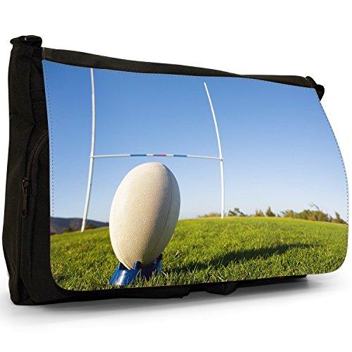 Kit Team-Pallone da Rugby Coppa del mondo, colore: nero, Borsa Messenger-Borsa a tracolla in tela, borsa per Laptop, scuola Nero (Ball Ready For Penalty Kick)