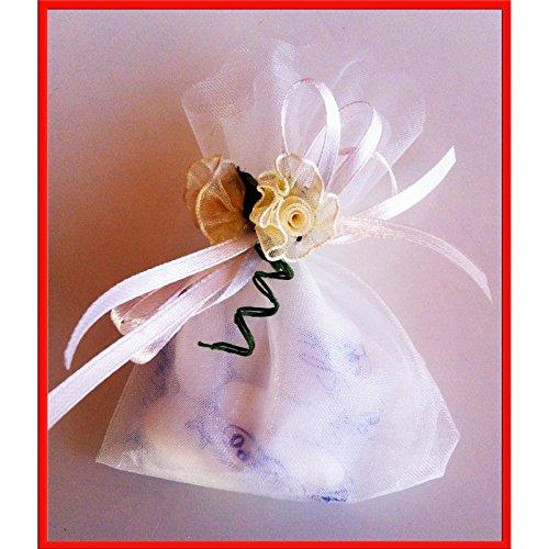 '24Tüten Mitgebsel 'weiß/creme: Blümchen in Stoff Organza, Tüll, mit Konfetti und Schleife Packung Brautpaar