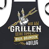 YORA Grillschürze für Männer - Bin am Grillen - lustige Kochschürze Männer