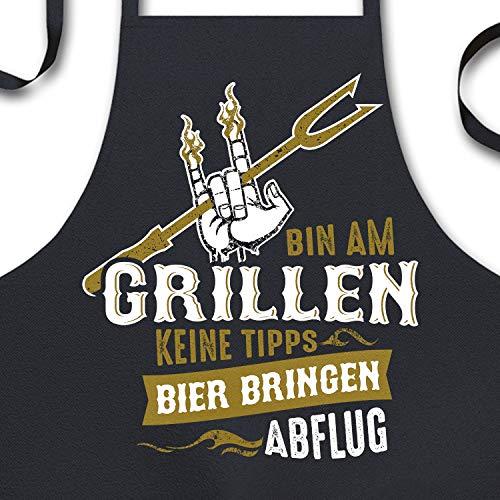 YORA Grillschürze für Männer lustig - Bin am Grillen Rock n Roll - Arbeitsschürze & Kochschürze - Geschenk für den Mann