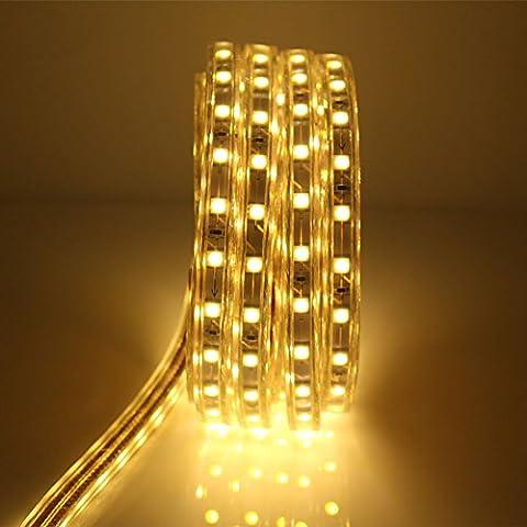 LED Streifen 6 Meter mit Schalter, 5050 Led Strip, 220V IP65 Wasserdicht, Warmweiß