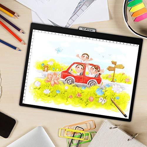 Kiss A4 LED Leuchttisch, Frosted Material Lightpad Mit 10 Verstellbaren Helligkeitsstufen, Ultraleicht Und Tragbar, Zeichnungskunst Ideal Für Das Zeichnen Sketch Animation Mit USB-Kabel