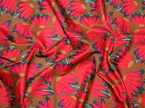 Rowan Brandon Mably (begriffsklärung) Fall 2014Lazy Daisy Popeline Quilting Stoff braun–Pro Fat Quarter + Gratis Minerva Crafts Craft Guide