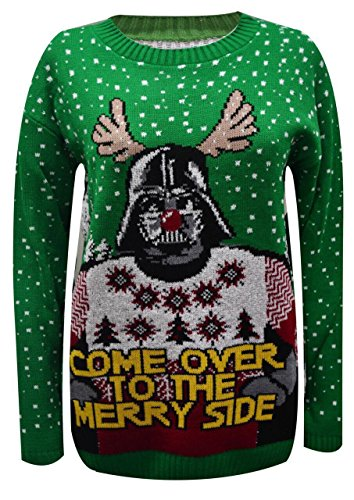 Mesdames filles de Noël 2Pudding Pull tricot Noël femme Starwar Merry Side Green