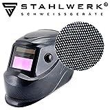 STAHLWERK ST-450RC Automatik Schweißhelm vollautomatisch abdunkelnd, einstellbare Parameter, inkl. 5 Ersatzscheiben, 5 Jahre GARANTIE auf FILTER, carbon
