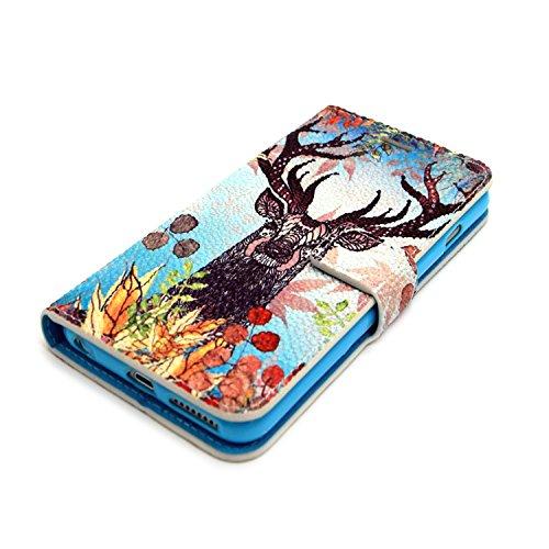 MOONCASE iPhone 6S Coque Portefeuille [Porte-cartes] Modèle Case Housse en Cuir Etui à rabat avec Béquille pour iPhone 6 / 6S (4.7 inch) -YX05 YX08