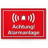 Achtung Alarmanlage Kunststoff Schild (rot 30 x 20 cm) - Achtung/Vorsicht Alarmgesichert - Hinweis/Hinweisschild Alarm - Haus/Gebäude / Objekt