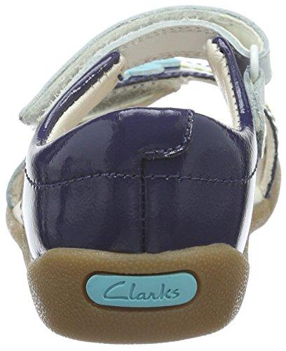 Clarks Kids Softly Eve Fst, Baskets premiers pas mixte bébé Bleu (Navy Combi Lea)
