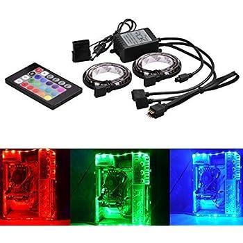 Surom computer LED RGB con telecomando, RGB LED luce lampada flessibile striscia DC 12V per PC computer case