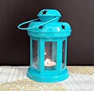 iHandiKart Handicrafts Hanging Lantern Decorative Tea Light Holder Home Decor Blue Color Iron Lamp with Candle