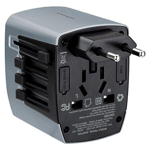 LX7 Universal USB Travel Power Adapter Weltweite Internationale Cube Plug Adapter Für Großbritannien/EU/US/AU Über 150 Ländern Sicherheit Verschmolzen,Silver Internationale Ac Power Adapter-kit