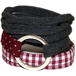 Wickelarmband onesize - Stoffarmband zum Wickeln - Handmade - Endlosarmband mit silberfarbenem Ring - weinrot, weiß und anthrazit