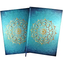 Notizbuch / Tagebuch: Mandala, türkis-blau metallic mit gold geprägtem Emblem, blanko, A5, inkl. edler Geschenkbox