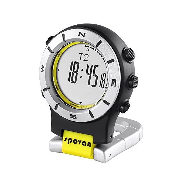 Lixada Smart Watch LED Clip Watch Sports Watches Fishing Hiking Climbing Pocket Watch Altimeter Barometer Compass