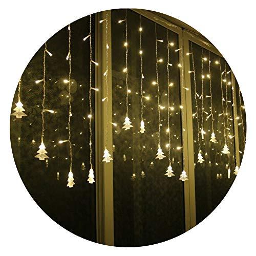 Lianqi 3.5M Warme Weiße 96LED Vorhang Lichter, Weihnachtsbaum Stil Vorhang Lichter,Linkable Design, LED Eiszapfen Lichter für Weihnachten/Hochzeit - Warm-weiße Led Eiszapfen