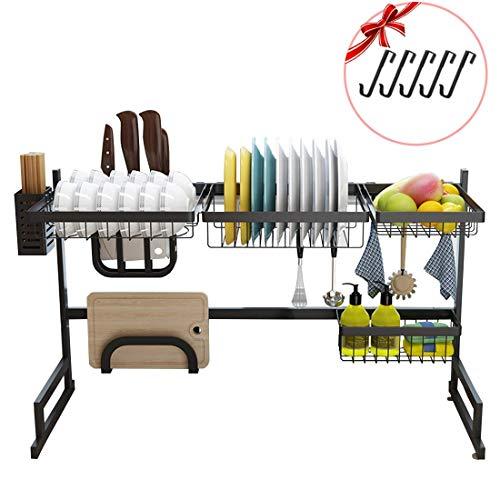 Xue-Shelf Geschirrtrockner über Spüle Edelstahl Abtropffläche Regal für Küchenbedarf Lagerung, über Spüle Schüssel Rack Dish Rack Display Regal