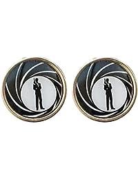 Secret Agent James Bond 007 noir et boutons de manchette ronds blancs dans une boîte cadeau
