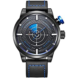 Alienwork Quartz Watch XXL Oversized Wristwatch Outdoor Leather black black OS.WH-5201-3