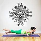 Yoga e soggiorno Adesivi murali camera da letto Adesivo in vinile Mandala Gioielli Motivo indiano Casa e giardino Muro A7 57x57CM