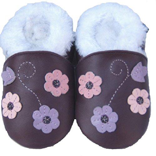 Lederhausschuhe-gEFÜTTERT- souples-jinwood 3 fleurs lilas baby-chaussures en cuir Violet - Violet/vert-noir-blanc