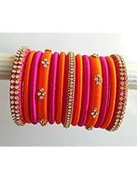 Manali Creations Orange Pink Plastic Silk Thread Bangle Set For Women