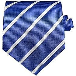 TNS - Corbata de rayas finas, clásica, con pañuelo y gemelos a juego Azul Blue & White Thin Striped Tie Talla única