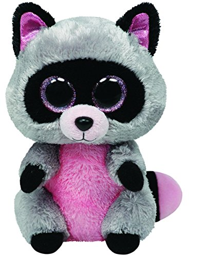 Beanie Boo Racoon - Rocco - Grey/Pink - 15cm 6""