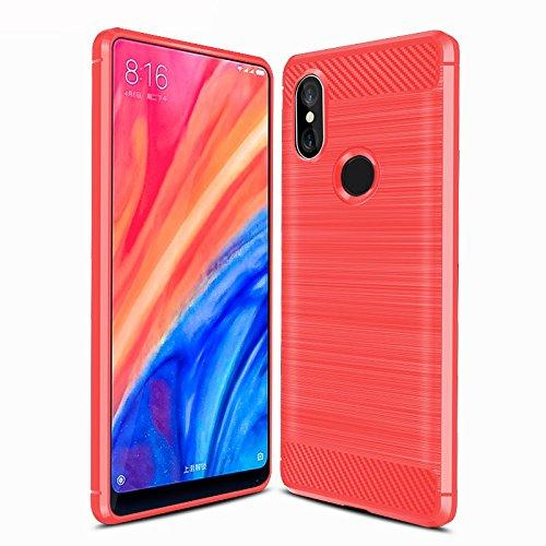 BoseWek Xiaomi Mi Mix 2s Funda, Xiaomi Mi Mix 2s Funda de Silicona para teléfono Inteligente Xiaomi Mi Mix 2s con Fibra de Carbono Suave. Rojo