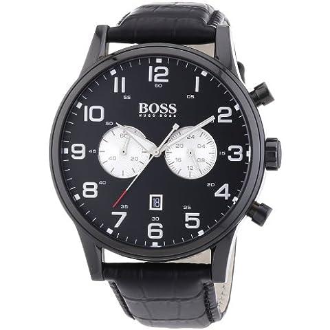 Hugo Boss  1512920 - Reloj de cuarzo para hombre, con correa de cuero, color negro