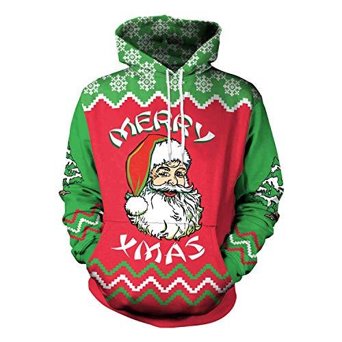 Ruiyue Weihnachten Winter Hip-Hop Punk 3D Gedruckt Cartoon Hoodies Santa Sweatshirts Für Frauen Männer (Size : XL)