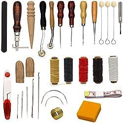 Suministros de costura, accesorios, herramientas de coser artesanales, de piel, 25 piezas diferentes