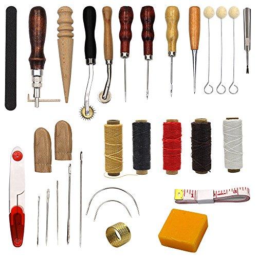 25Stück Nähbedarf Zubehör Werkzeuge, Leder Craft Hand Sticken Nähen Werkzeug (14 Leder Eye)