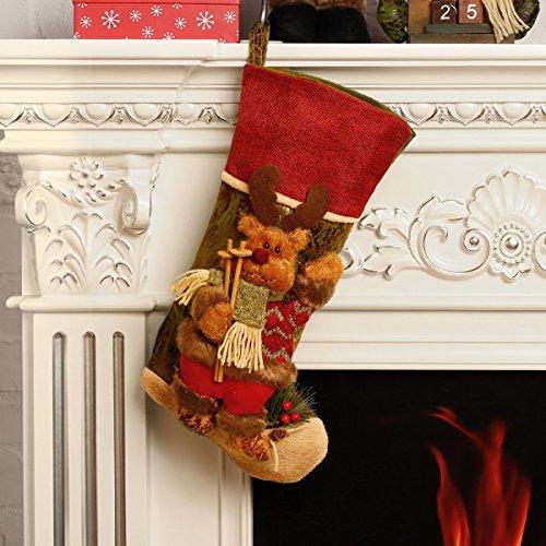 Calze di natale, decorazioni, borsa regalo di natale con personaggio in 3d, peluche in lino, etichette a forma di babbo natale, calze con pupazzo di neve e renne, 44,5cm, reindeer,1 pcs, 17.5 inch,1 pcs